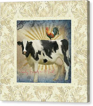 Canvas Print featuring the painting Farm Fresh Damask Milk Cow Red Rooster Sunburst Family N Friends by Audrey Jeanne Roberts