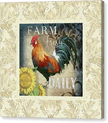 Canvas Print featuring the painting Farm Fresh Damask Red Rooster Sunflower by Audrey Jeanne Roberts