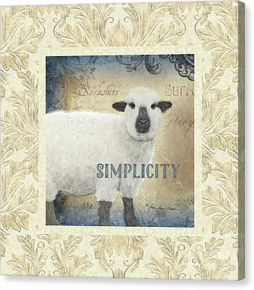 Canvas Print featuring the painting Farm Fresh Damask Sheep Lamb Simplicity Square by Audrey Jeanne Roberts