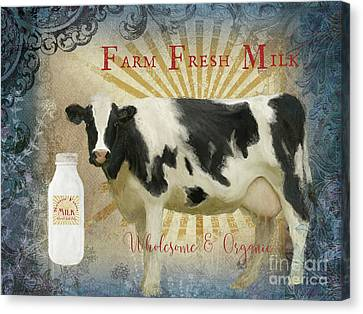 Canvas Print featuring the painting Farm Fresh Milk Vintage Style Typography Country Chic by Audrey Jeanne Roberts