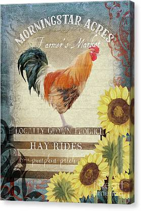 Canvas Print featuring the painting Farm Fresh Morning Rooster Sunflowers Farmhouse Country Chic by Audrey Jeanne Roberts