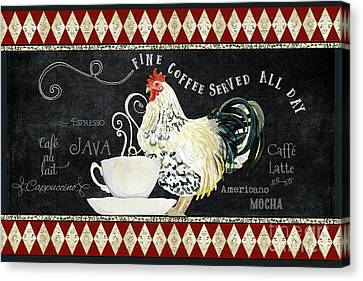 Canvas Print featuring the painting Farm Fresh Rooster 5 - Coffee Served Chalkboard Cappuccino Cafe Latte  by Audrey Jeanne Roberts