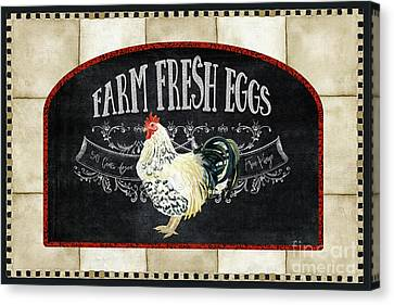 Farm Fresh Roosters 1 - Fresh Eggs Typography Canvas Print by Audrey Jeanne Roberts