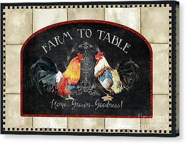 Canvas Print featuring the painting Farm Fresh Roosters 2 - Farm To Table Chalkboard by Audrey Jeanne Roberts