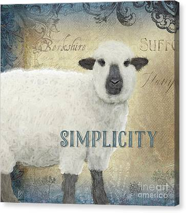 Canvas Print featuring the painting Farm Fresh Sheep Lamb Simplicity Square by Audrey Jeanne Roberts