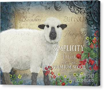 Canvas Print featuring the painting Farm Fresh Sheep Lamb Wool Farmhouse Chic  by Audrey Jeanne Roberts
