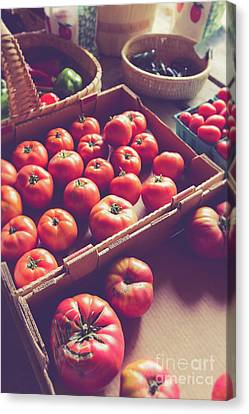 Farmstand Canvas Print - Farm Fresh Tomatoes At A Farm Stand by Edward Fielding