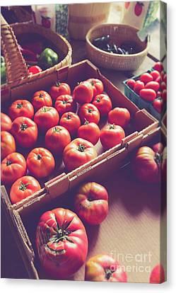 Farmstand Canvas Print - Farm Fresh Tomatoes At A Farm Stand by Edward Fielding