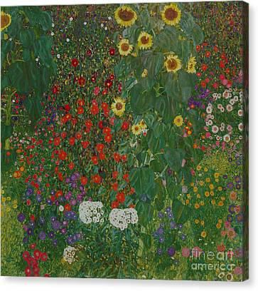 1918 Canvas Print - Farm Garden With Flowers by Gustav Klimt