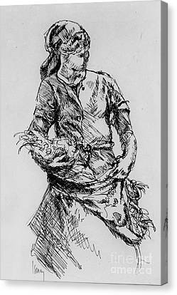 Canvas Print featuring the drawing Farm Girl by Rod Ismay