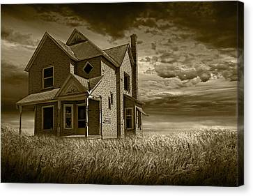 Sepia Vintage Farmhouse Canvas Print - Farm House At Sunset In Sepia by Randall Nyhof