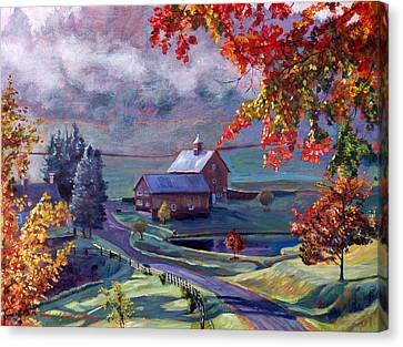 Farm In The Dell Canvas Print by David Lloyd Glover