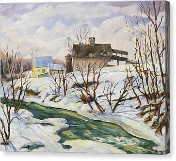 Farm In Winter Canvas Print by Richard T Pranke
