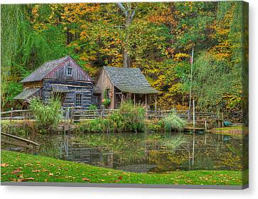 Old Cabins Canvas Print - Farm In Woods by William Jobes
