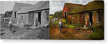 Farm - Life On The Farm 1940s - Side By Side Canvas Print by Mike Savad