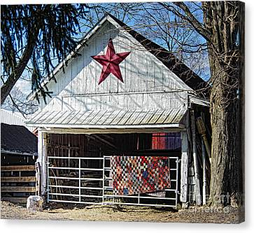 Homemade Quilts Canvas Print - Farm Quilt by Timothy Flanigan