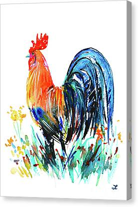 Canvas Print featuring the painting Farm Rooster by Zaira Dzhaubaeva