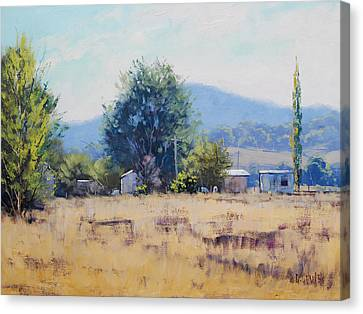 Farm Sheds At Trmut Canvas Print by Graham Gercken