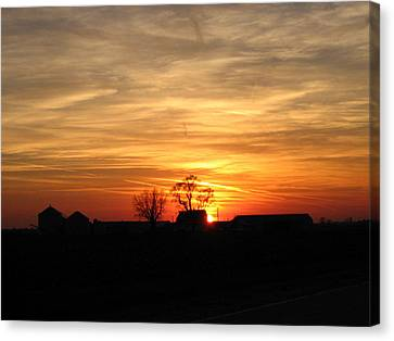 Canvas Print featuring the photograph Farm Sunset by Jack G  Brauer