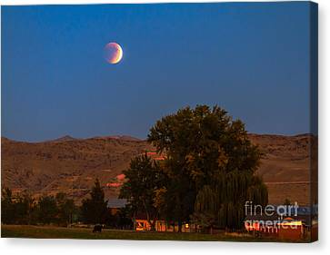 Farm View Of Supermoon Eclipse Canvas Print