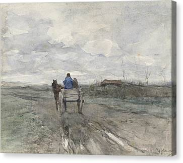 Farm Wagon On A Country Road Canvas Print by Anton Mauve