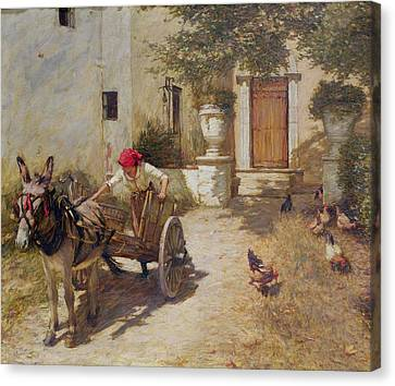 Farm Yard Scene Canvas Print by Henry Herbert La Thangue
