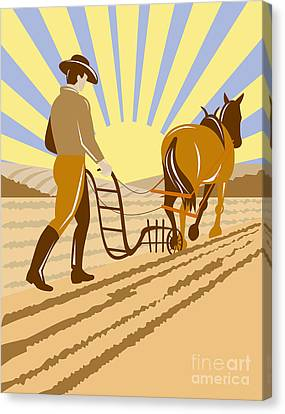 Farmer And Horse Plowing Canvas Print by Aloysius Patrimonio