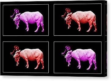 Farmer And Water Buffalo Pop Art Canvas Print by Ian Gledhill