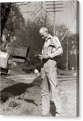 Farmer Checking Mailbox, C.1930s Canvas Print by H. Armstrong Roberts/ClassicStock