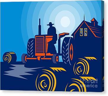 Farmer Driving Vintage Tractor Canvas Print by Aloysius Patrimonio