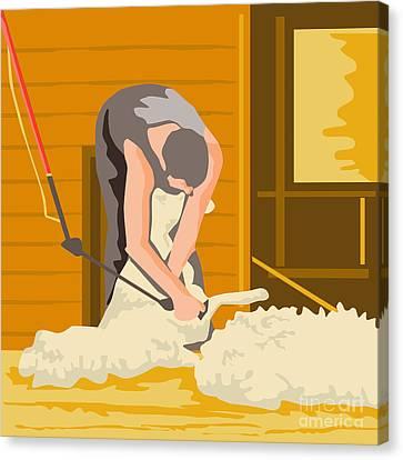 Farmer Farmworker Shearing Sheep Wpa Canvas Print by Aloysius Patrimonio