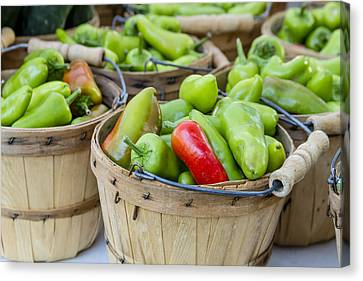 Locally Grown Canvas Print - Farmers Market Hot Peppers by Teri Virbickis