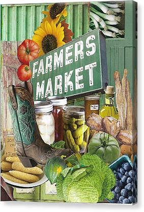 Dinner Party Invitation Canvas Print - Farmers Market by Robin Frazier