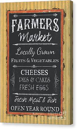 Local Food Canvas Print - Farmer's Market Signs by Debbie DeWitt