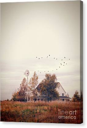 Farmhouse And Windmill Canvas Print by Jill Battaglia