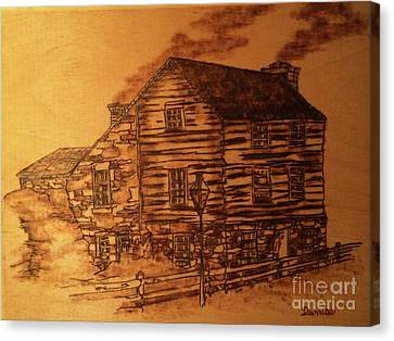 Canvas Print featuring the pyrography Farmhouse by Denise Tomasura