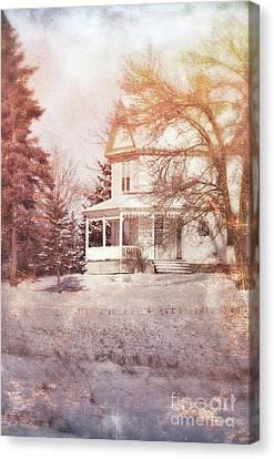 Canvas Print featuring the photograph Farmhouse In Snow by Jill Battaglia