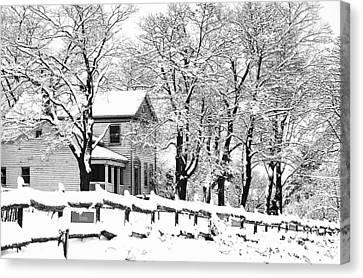 Farmhouse In Winter Canvas Print