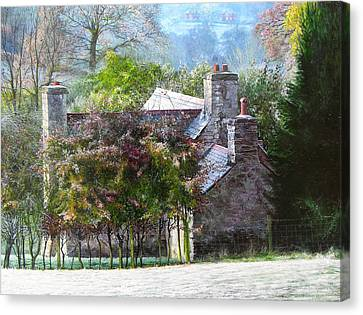 Canvas Print featuring the painting Farmhouse On A Cold Winter Morning. by Harry Robertson