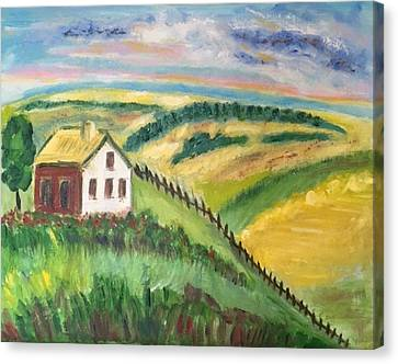 Farmhouse On A Hill Canvas Print by Diane Pape
