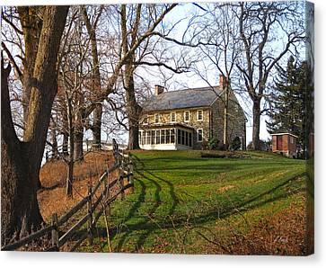 Farmhouse On A Hill Canvas Print by Gordon Beck