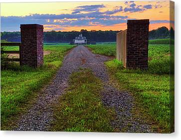 Canvas Print featuring the photograph Farmhouse Sunrise - Arkansas - Landscape by Jason Politte