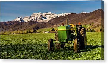 Early Spring Canvas Print - Farming Beneath Timpanogos by TL Mair