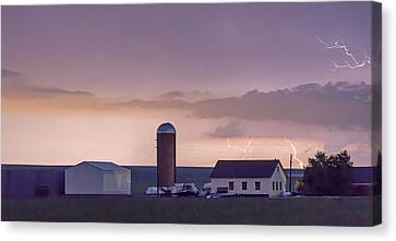 Farming Country Lightning Storm Watching Panorama Canvas Print by James BO  Insogna