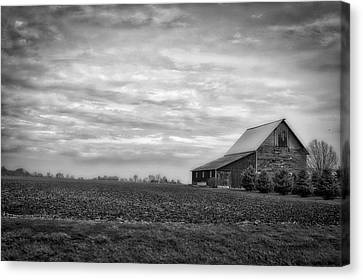 Farming Midwest American Barn Bw Canvas Print by Thomas Woolworth