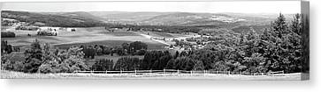Farming Panorama Finger Lakes New York Bw Canvas Print by Thomas Woolworth