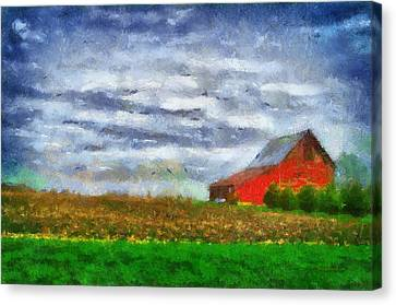 Farming Red Barn On A Quite Spring Day Pa 05 Canvas Print by Thomas Woolworth