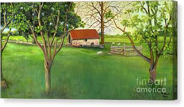 Canvas Print featuring the painting Farmland Scene by Marlene Book