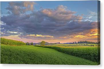 Canvas Print featuring the photograph Farmland Sunset 2017 by Bill Wakeley