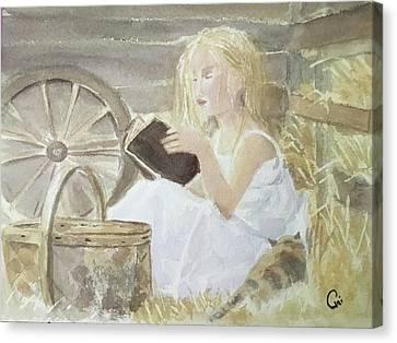 Farm's Reader Canvas Print by Annie Poitras